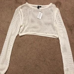 Windsor white mesh fishnet long sleeve top